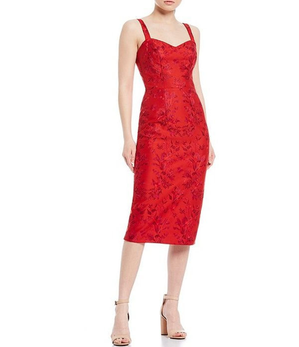 ドレスザポプレーション レディース ワンピース トップス Jaida Sweetheart Neck Sleeveless Floral Embroidered Sheath Midi Dress Rouge Red Multi