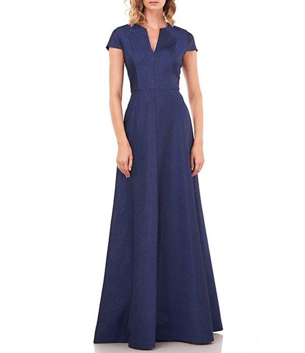 ケイ アンジャー レディース ワンピース トップス Valentina Shangtung Jacquard V-Neck Cap Sleeve Gown Navy