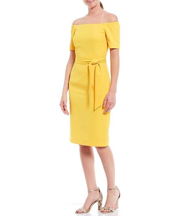 アントニオ メラーニ レディース ワンピース トップス Wilma Crepe Off-The-Shoulder Short Sleeve Belted Midi Sheath Dress Sunrise