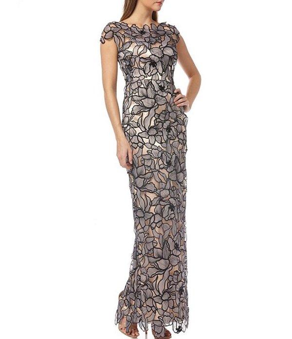 ジェイエスコレクションズ レディース ワンピース トップス Floral Lace Satin Cap Sleeve Column Gown Black/Blush