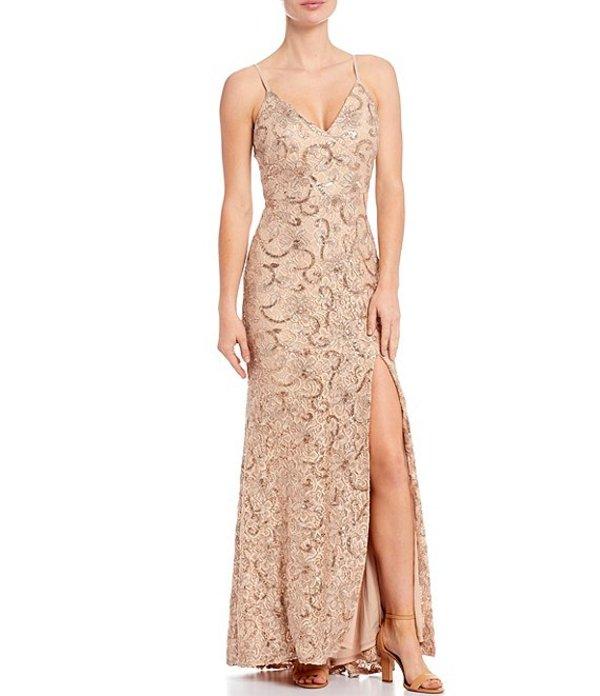 ヴィンスカムート レディース ワンピース トップス Sleeveless V-Neck Sequined Lace Gown Blush