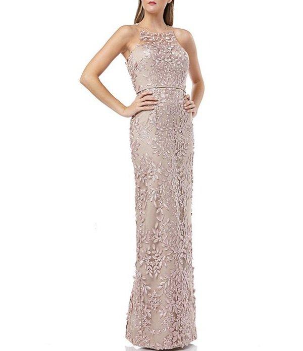 ジェイエスコレクションズ レディース ワンピース トップス Embroidered Lace Illusion Neck Sleeveless Column Gown Maple Sugar