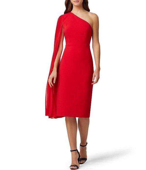 タハリエーエスエル レディース ワンピース トップス Pleated Chiffon One Shoulder Crepe Sheath Dress Ruby
