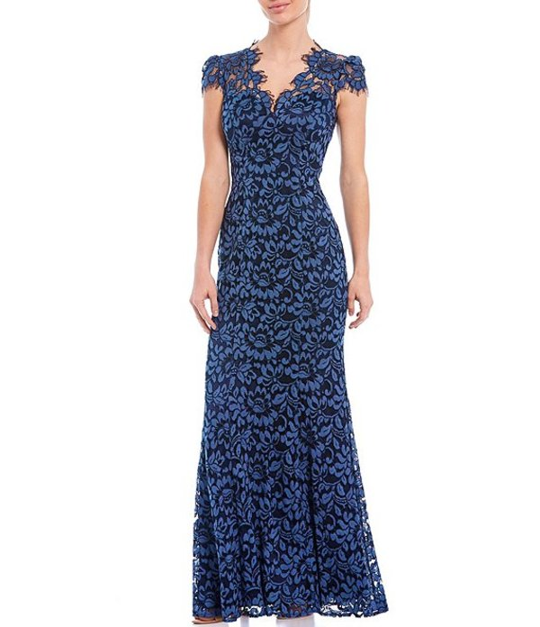 エリザジェイ レディース ワンピース トップス Illusion Neck Cap Sleeve Saint Lace Cotton Blend Column Gown Navy