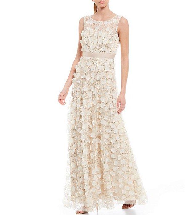 エリザジェイ レディース ワンピース トップス Sleeveless 3-D Flower A-Line Gown Champagne