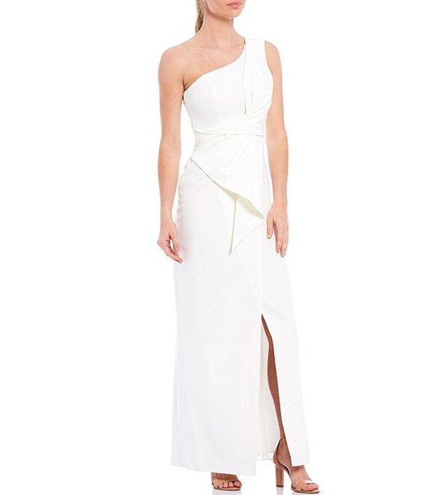 エリザジェイ レディース ワンピース トップス One Shoulder A-Line Bow Detail Crepe Gown Ivory