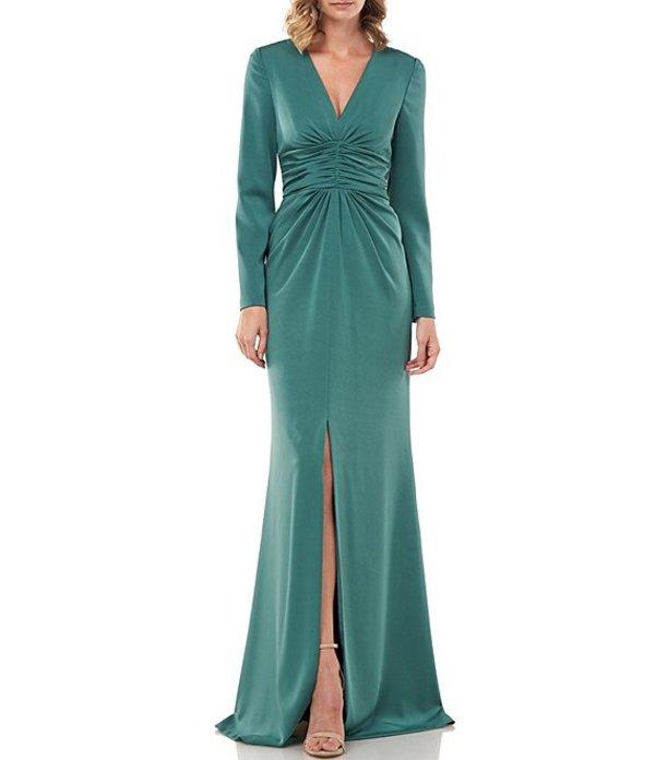 ケイ アンジャー レディース ワンピース トップス Kayla Stretch Vaille Plunge V-Neck Long Sleeve Ruched Waist Front Slit Gown English Ivy