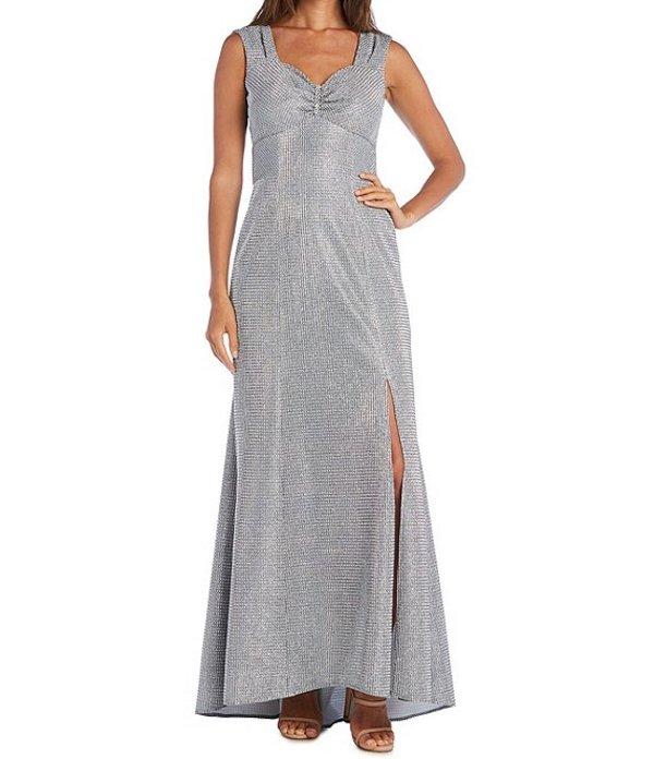 アールアンドエムリチャーズ レディース ワンピース トップス Metallic Glitter Sleeveless Front Slit Gown Silver