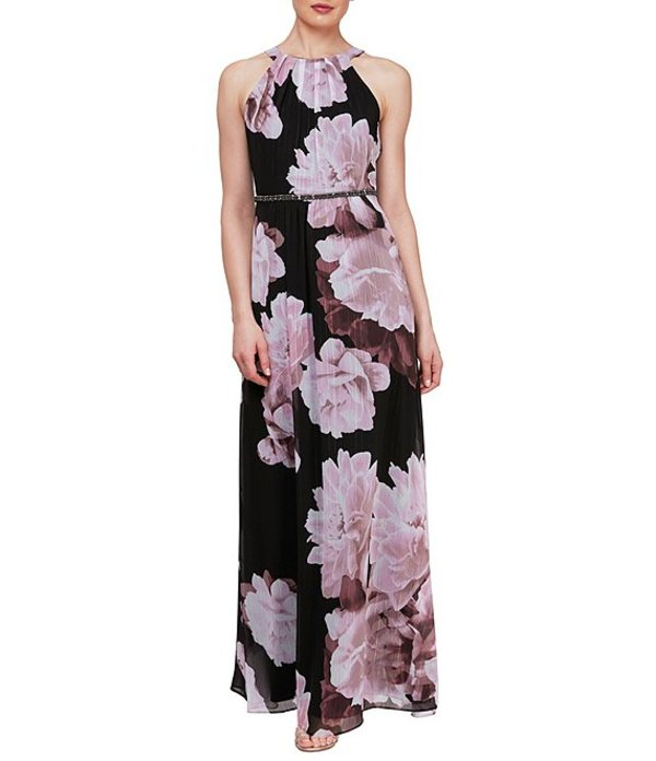 イグナイト レディース ワンピース トップス Floral Chiffon Beaded Waist Halter Neck Sleeveless Maxi Dress Black Multi