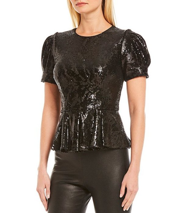 アントニオ メラーニ レディース シャツ トップス Ozan Puff Sleeve Stretch Allover Sequin Peplum Blouse Black