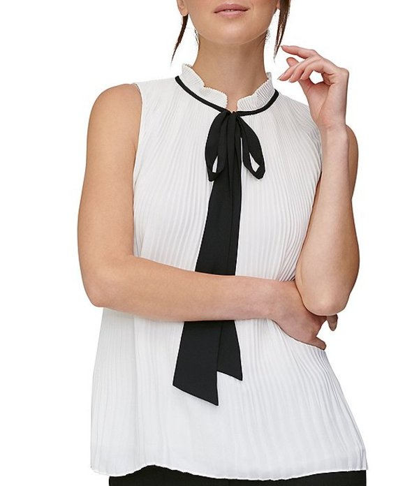 ダナ キャラン ニューヨーク レディース シャツ トップス Sleeveless Pleated Georgette Tie Neck Top White/Black