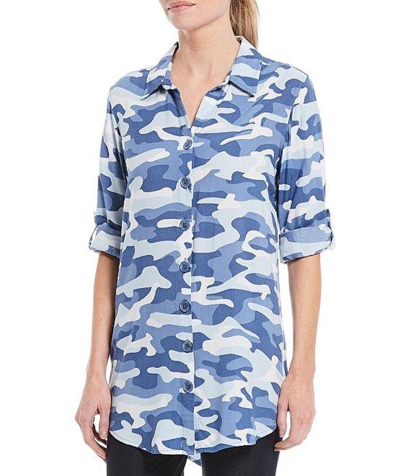 イントロ レディース シャツ トップス Camo Print Long Roll-Tab Sleeve Button Down Shirt Azure Slate Camo