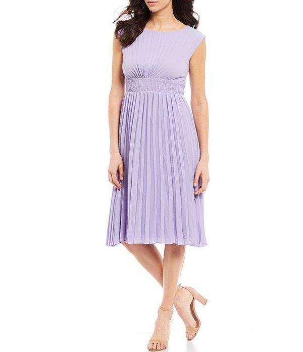 マギーロンドン レディース ワンピース トップス Pleated Shirred Waist Sunburst Catalina Crepe Dress Lavender