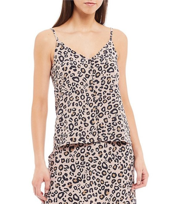 サンクチュアリー レディース タンクトップ トップス Essential Button Front Cheetah Print Spaghetti Strap Top Neutral Spots