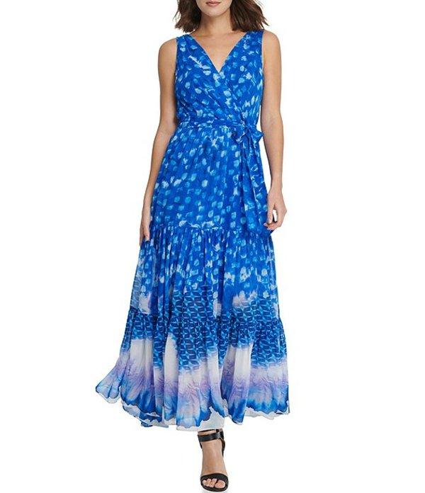 ダナ キャラン ニューヨーク レディース ワンピース トップス Tie Dye Chiffon V-Neck Sleeveless Maxi Dress Agate Slice/Royal Multi