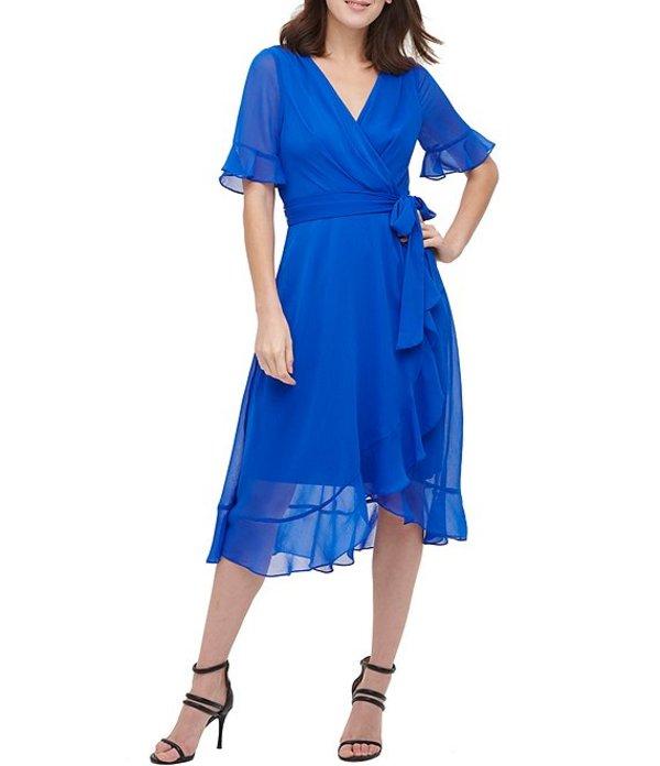 ダナ キャラン ニューヨーク レディース ワンピース トップス Chiffon Short Ruffle Sleeve Faux Wrap V-Neck Dress Royal