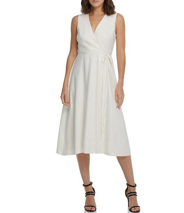 ダナ キャラン ニューヨーク レディース ワンピース トップス Stretch Linen Blend Faux Wrap V-Neck Sleeveless Midi Dress Cream