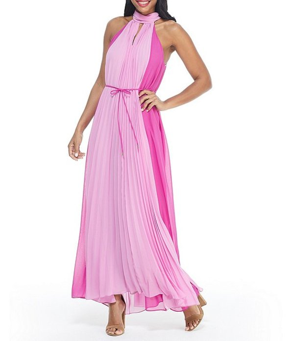 マギーロンドン レディース ワンピース トップス Colorblock Halter Keyhole Neck Sleeveless Tie Waist Pleated Chiffon Maxi Dress Summer Plum/Light Orchid