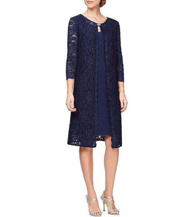 アレックスイブニングス レディース ワンピース トップス Matte Jersey Glitter Lace 3/4 Sleeve Scallop Trim Mock Jacket Dress Navy