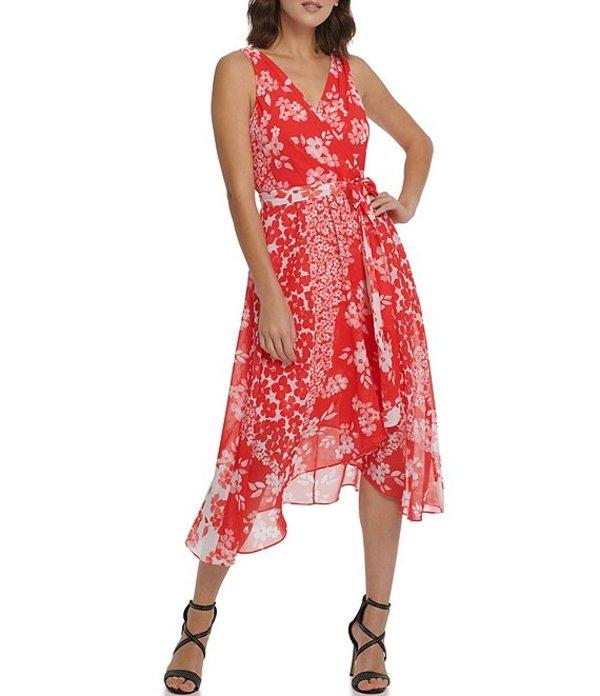 ダナ キャラン ニューヨーク レディース ワンピース トップス Floral Print Chiffon Faux Wrap Sharkbite Hem Midi Dress Coral Multi
