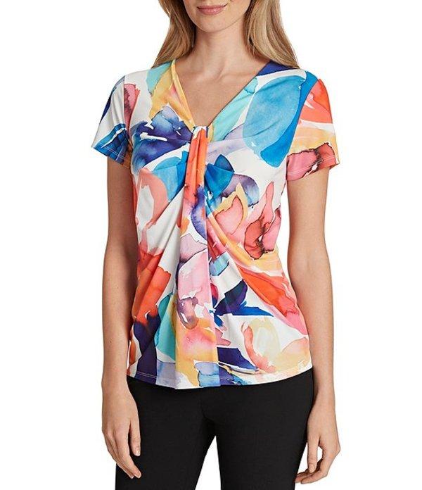 タハリエーエスエル レディース シャツ トップス Short Sleeve Abstract Floral Printed Jersey Drape Front Top Ivory Multi Abstract