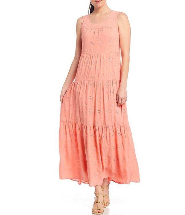 レバ レディース ワンピース トップス Eyelet Sleeveless Tiered Maxi Dress Coral