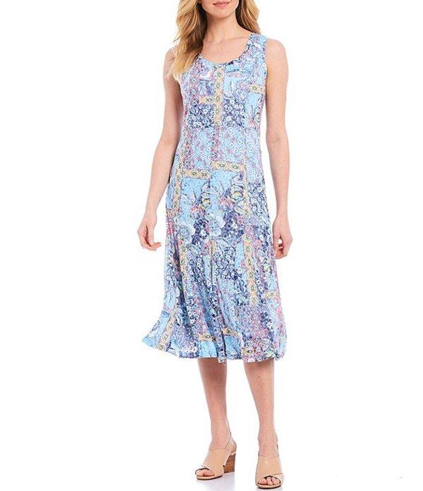 ルビーアールディー レディース ワンピース トップス Entwined Garden Patchwork Print Burnout Scoop Neck Sleeveless Cotton Blend Dress Navy Multi