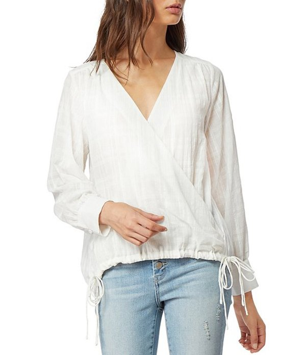 ハビチュアル レディース シャツ トップス Marta Surplice V-Neck Crossover Faux Wrap Cotton Blouse Bright White