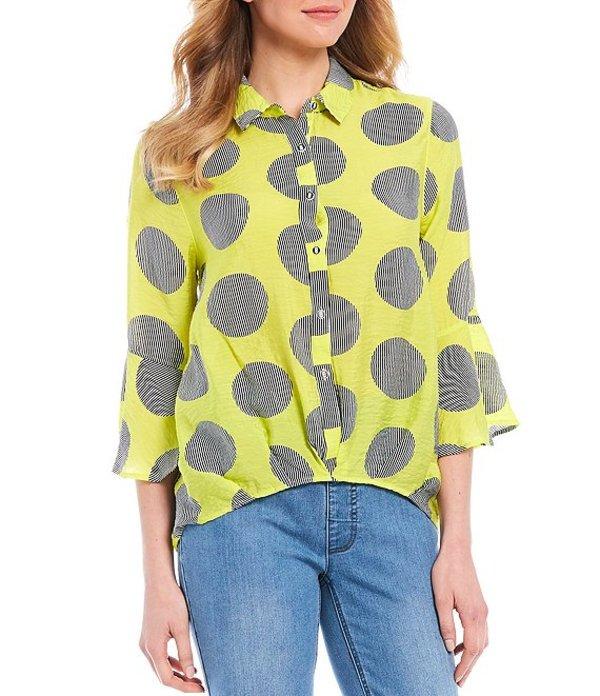 マルチプルズ レディース シャツ トップス Oversized Polka Dot Print 3/4 Bell Sleeve Button Down Shirt Multi