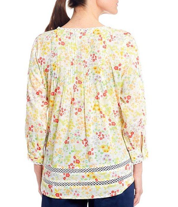 イントロ レディース シャツ トップス Ditsy Floral 3 4 Sleeve Lace Trim Button FroiPZXku