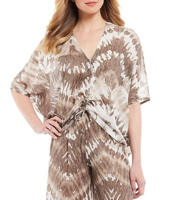 ブライン ウォーカー レディース シャツ トップス Ria Malta Tie-Dye Gauze Cotton V-Neck Short Sleeve Shirt Sand