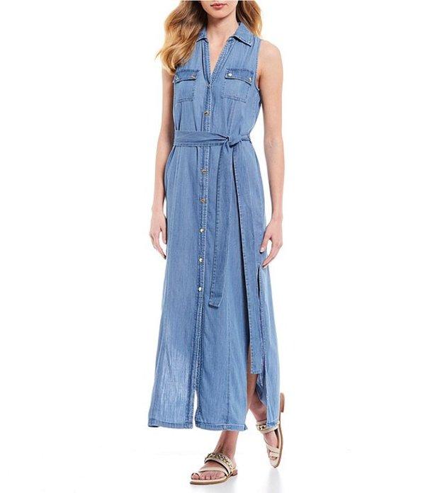 マイケルコース レディース ワンピース トップス MICHAEL Michael Kors Cotton/Lyocell Button Front Sleeveless Maxi Shirt Dress Indigo