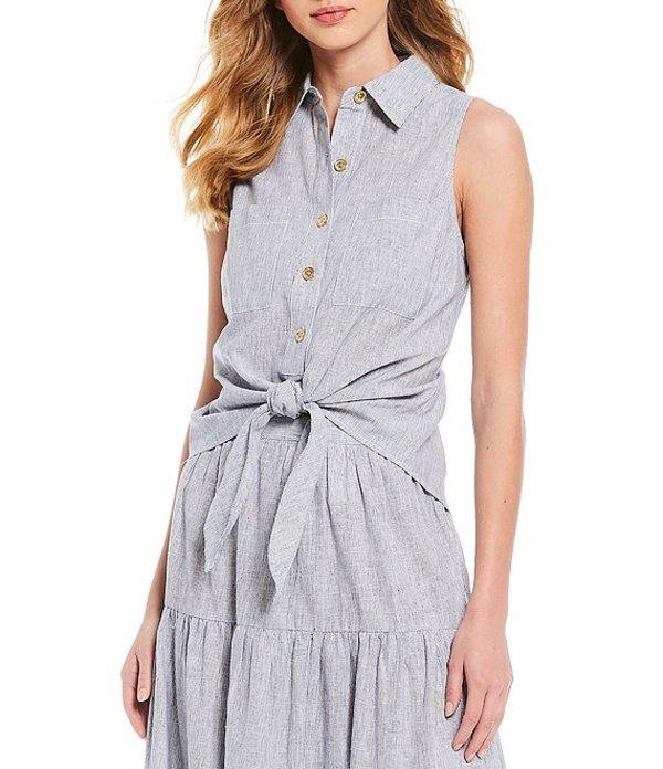 マイケルコース レディース シャツ トップス MICHAEL Michael Kors Yarn Dye Stripe Button Tie Front Sleeveless Top True Navy