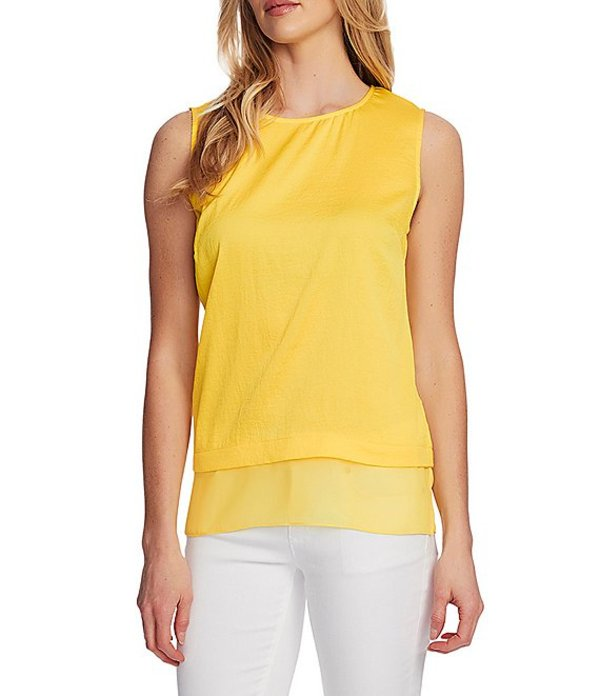 ヴィンスカムート レディース シャツ トップス Sleeveless Chiffon Hem Hammered Satin Blouse Primrose Yellow
