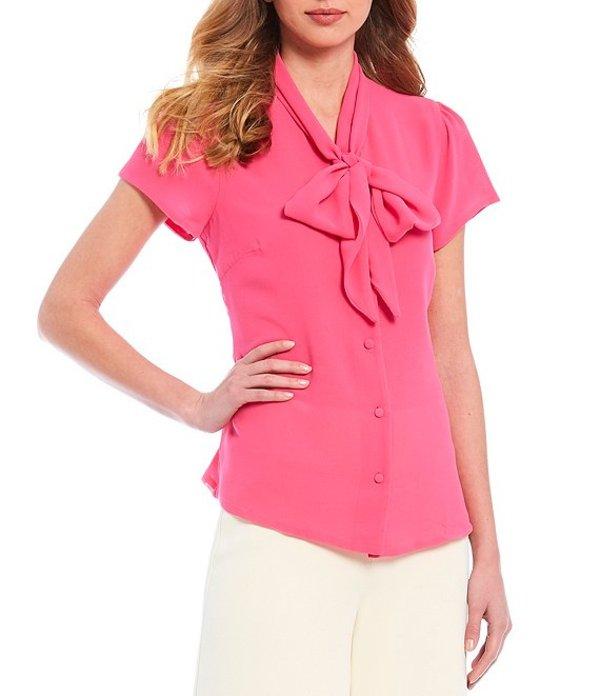 ジュリーブラウン レディース シャツ トップス Hanna Georgette Banded Tie Neck Blouse Pink Kiss