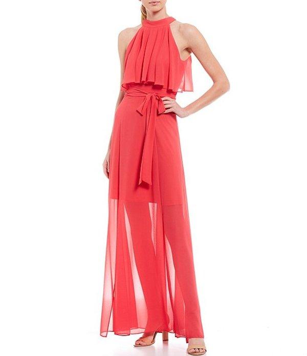 エリザジェイ レディース ワンピース トップス Chiffon Pop Over Halter Sleeveless Tie Waist Maxi Dress Coral