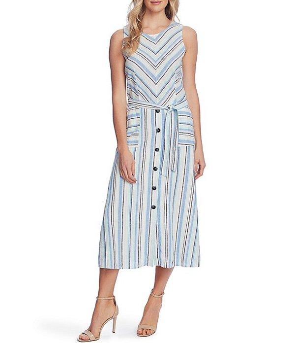 ヴィンスカムート レディース ワンピース トップス Sleeveless Striped Linen Cotton Blend Button Front Detail Tie Waist Midi Dress Aqua Ice