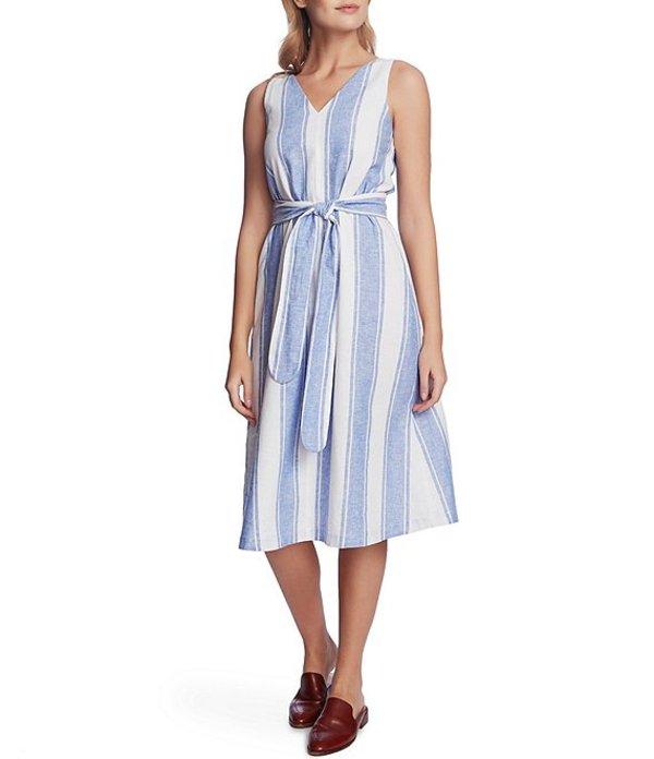 コート&ロー レディース ワンピース トップス Rivera Wide Striped Linen Cotton Blend Tie Waist Dress Villa Azul