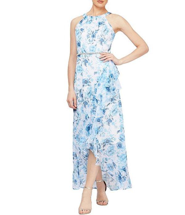 イグナイト レディース ワンピース トップス Sleeveless Beaded Waist Hi-Low Floral Chiffon Maxi Dress Ivory/Blue