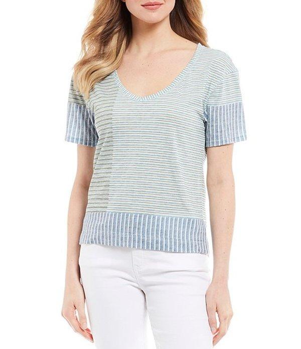 プラーナ レディース Tシャツ トップス Free Float Organic Cotton Blend Knit Stripe Top Azurite