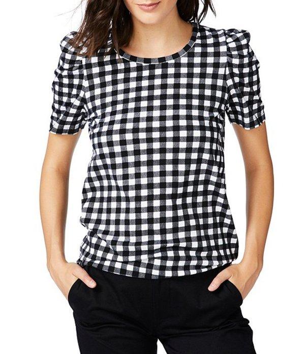 コート&ロー レディース Tシャツ トップス Gingham Puff Sleeve Knit Tee Rich Black
