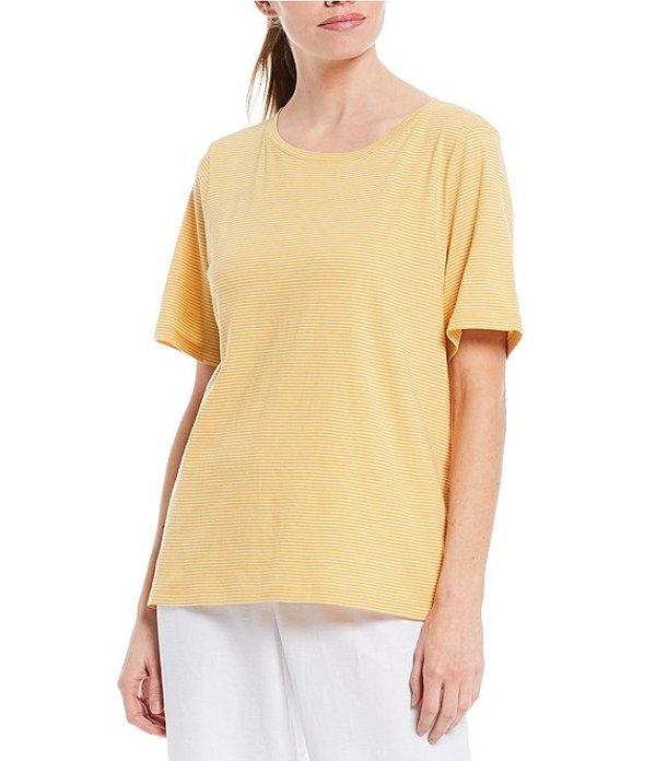 エイリーンフィッシャー レディース Tシャツ トップス Organic Cotton Stripe Jersey Short Sleeve Tee Marigold