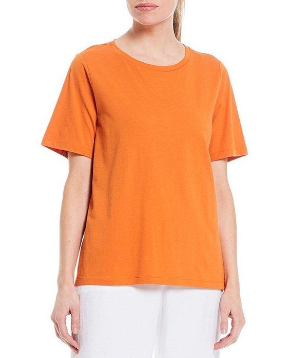エイリーンフィッシャー レディース Tシャツ トップス Organic Cotton Jersey Crew Neck Short Sleeve Tee Squash