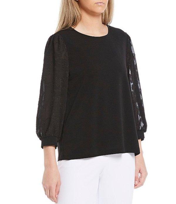 インベストメンツ レディース Tシャツ トップス 3/4 Textured Balloon Sleeve Top Black