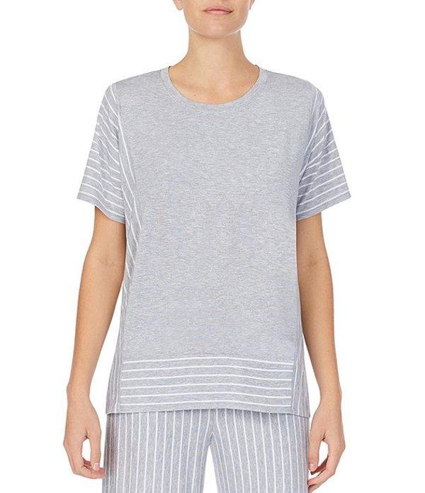 ダナキャラン レディース Tシャツ トップス Solid Striped Print Jersey Knit Lounge Top Grey Heather