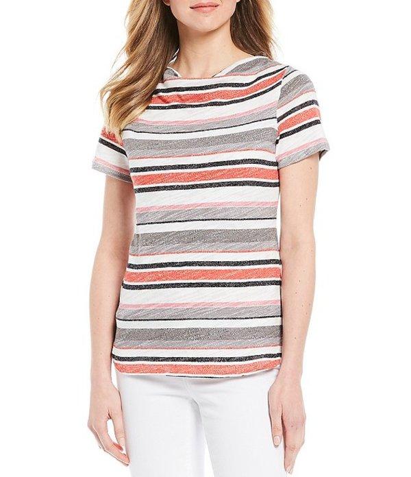 ジョーンズニューヨーク レディース Tシャツ トップス Stripe Tonal Slub Drape Neck Short Sleeve Tee Multi Stripe Heather Watermelon