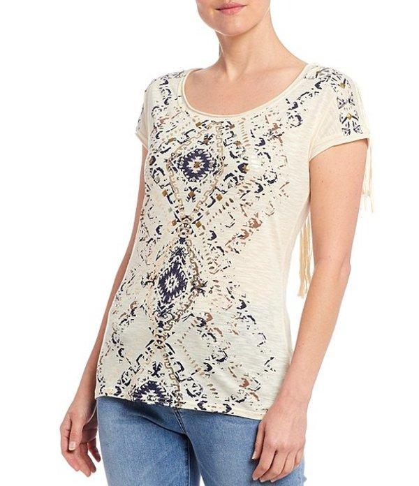 レバ レディース Tシャツ トップス Stud Embellished Short Sleeve Fringe Knit Top Multi