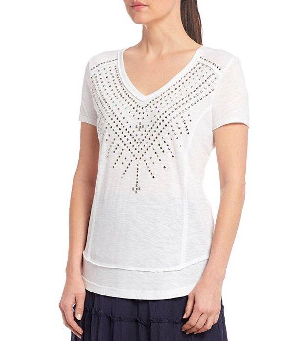 レバ レディース Tシャツ トップス Harmony Studded V-Neck Short Sleeve Knit Top White