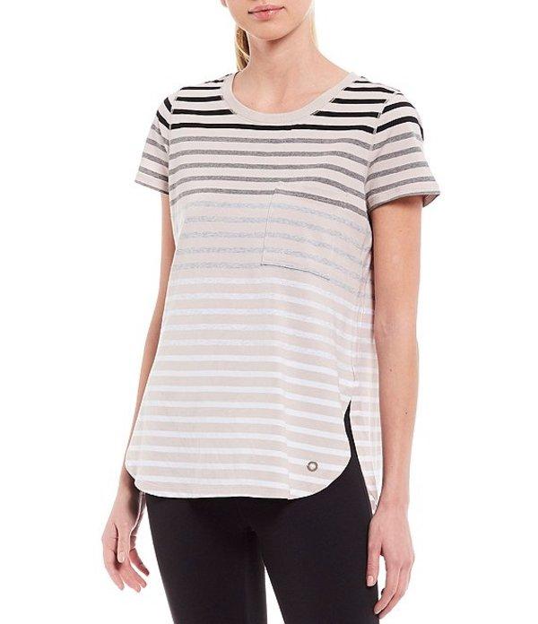 カルバンクライン レディース Tシャツ トップス Performance Short Sleeve Round Hem Pocket Tee Beige Combo