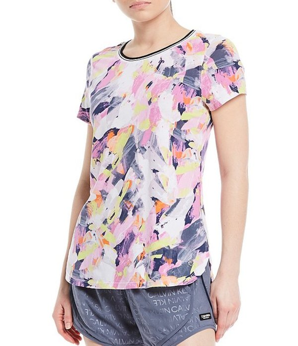 カルバンクライン レディース Tシャツ トップス Performance Printed Short Sleeve Round Hem Tee Brushstroke/Multi